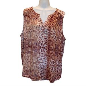 Sonoma Rose color Floral Sleeveless Blouse size 2X